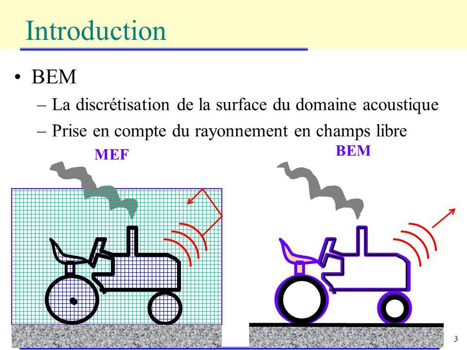 Introduction BEM La discrétisation de la surface du domaine acoustique