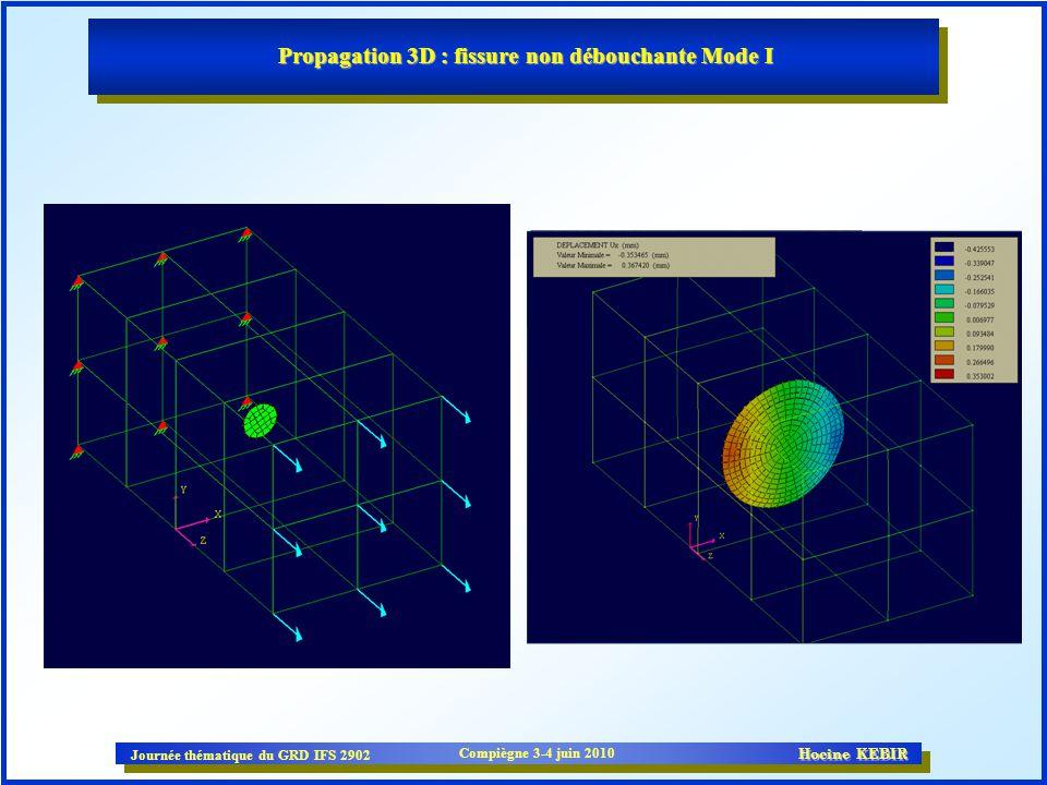 Propagation 3D : fissure non débouchante Mode I