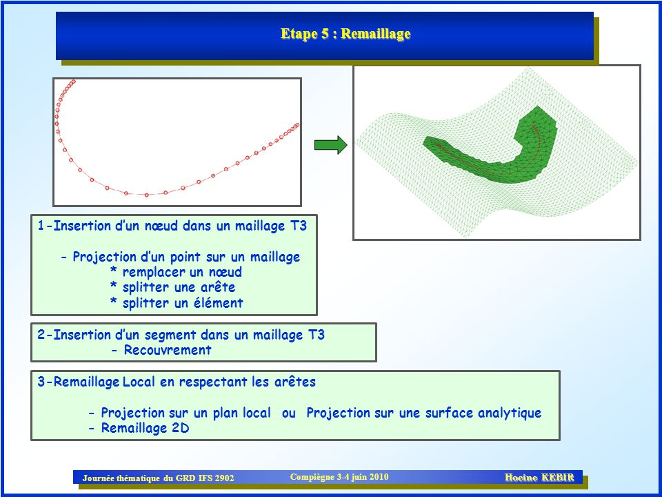 Etape 5 : Remaillage 1-Insertion d'un nœud dans un maillage T3