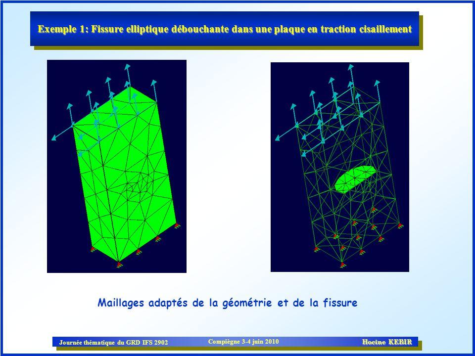 Exemple 1: Fissure elliptique débouchante dans une plaque en traction cisaillement