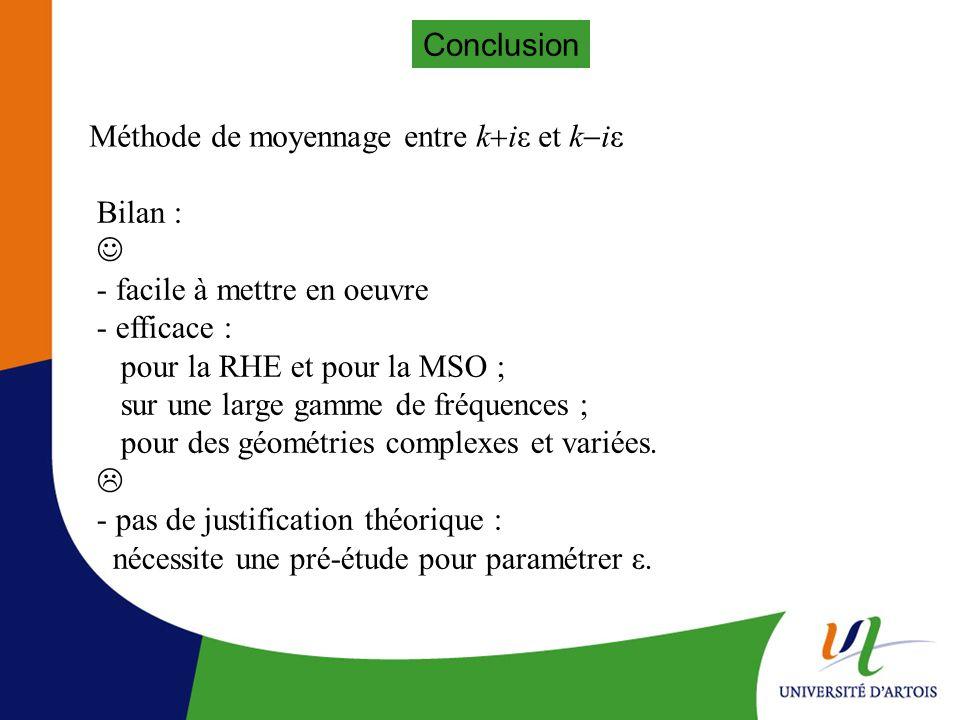 Conclusion Méthode de moyennage entre k+iε et k-iε. Bilan :  - facile à mettre en oeuvre. - efficace :
