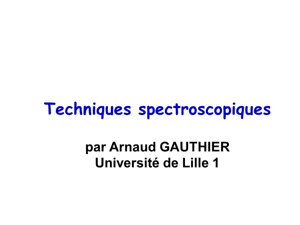 Techniques spectroscopiques