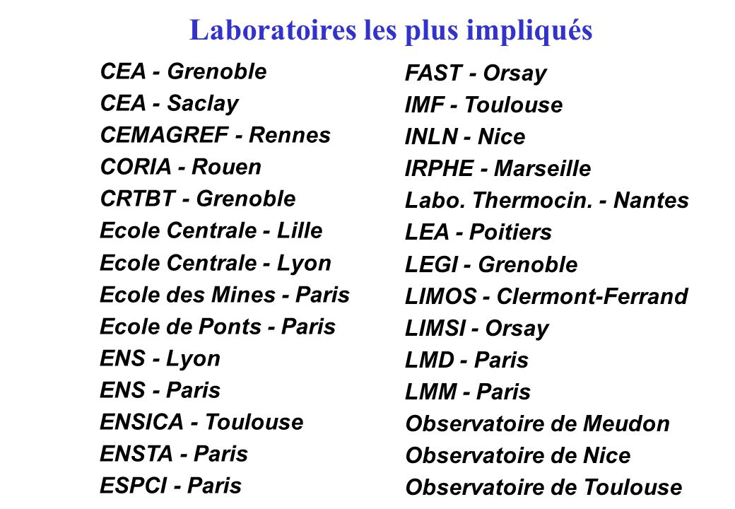 Laboratoires les plus impliqués