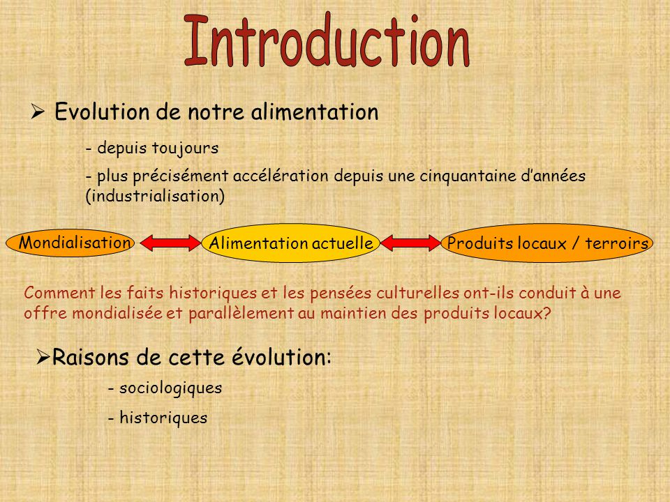Introduction Evolution de notre alimentation