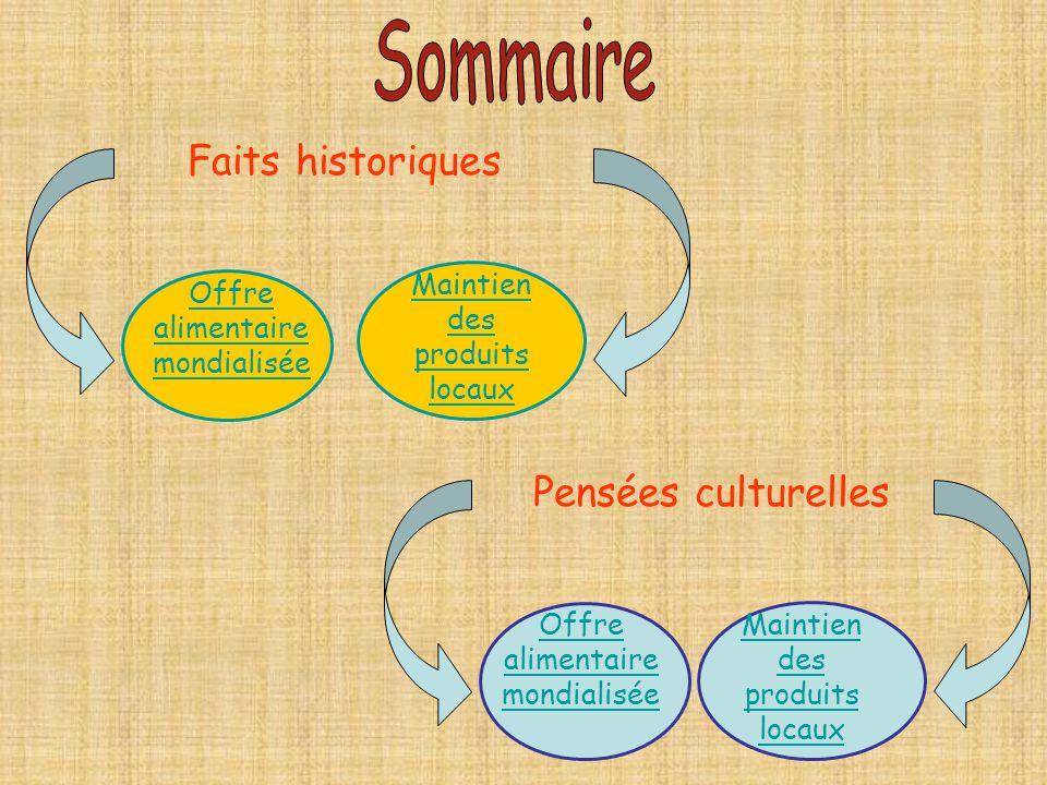 Sommaire Faits historiques Pensées culturelles