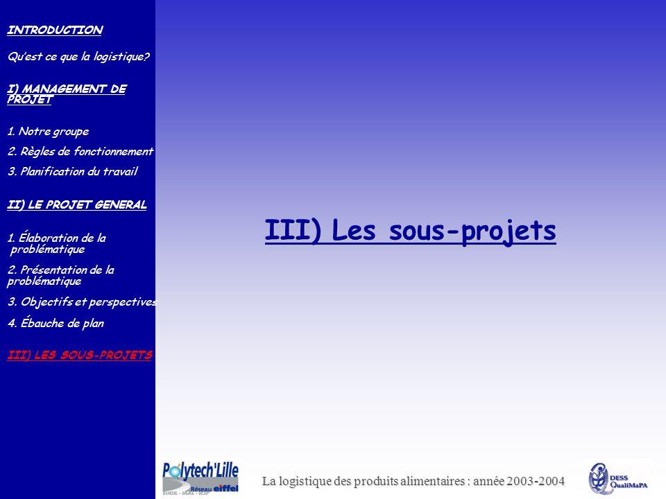 III) Les sous-projets INTRODUCTION Qu'est ce que la logistique