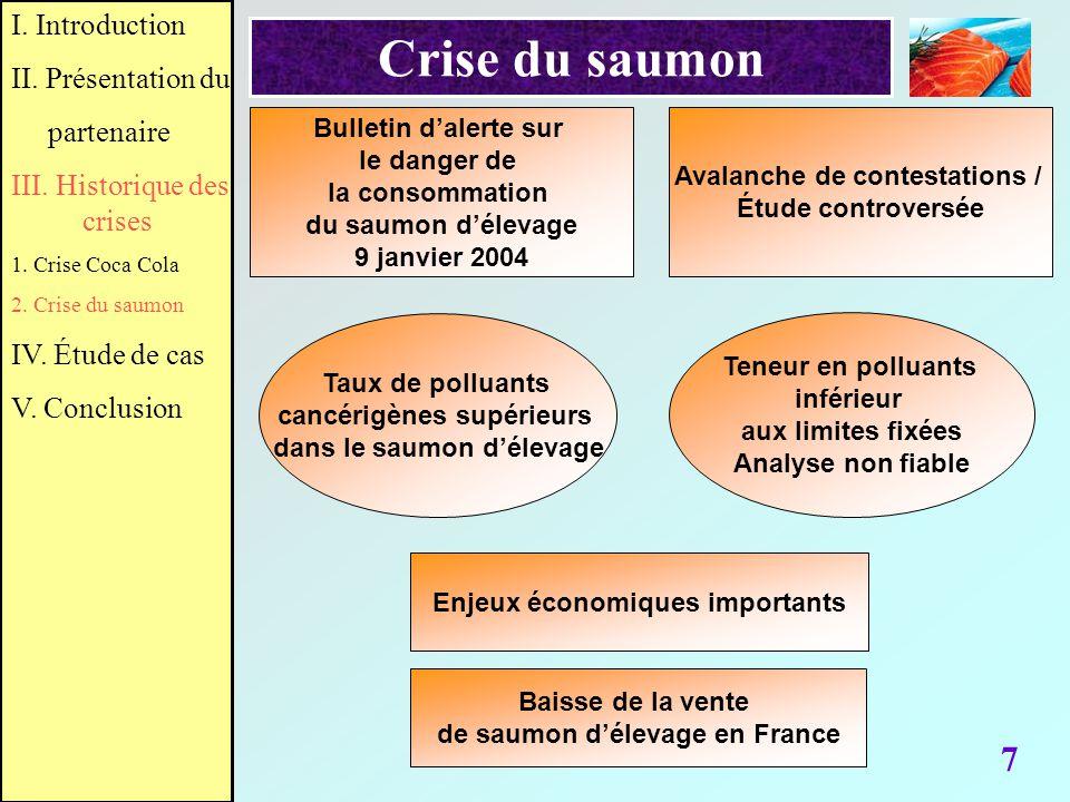 Crise du saumon 7 I. Introduction II. Présentation du partenaire