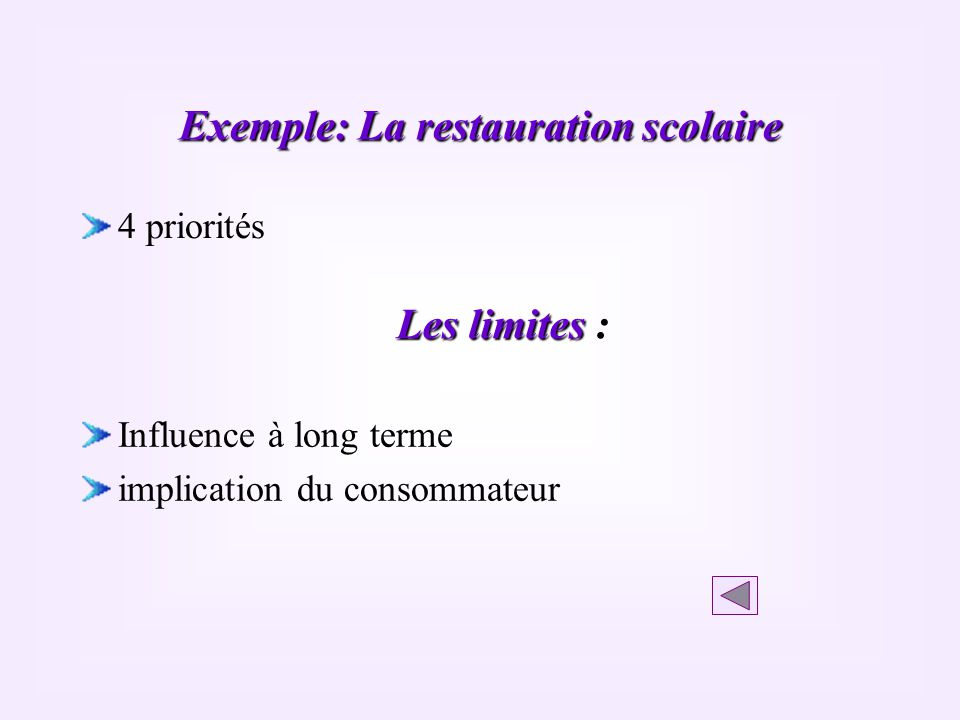 Exemple: La restauration scolaire