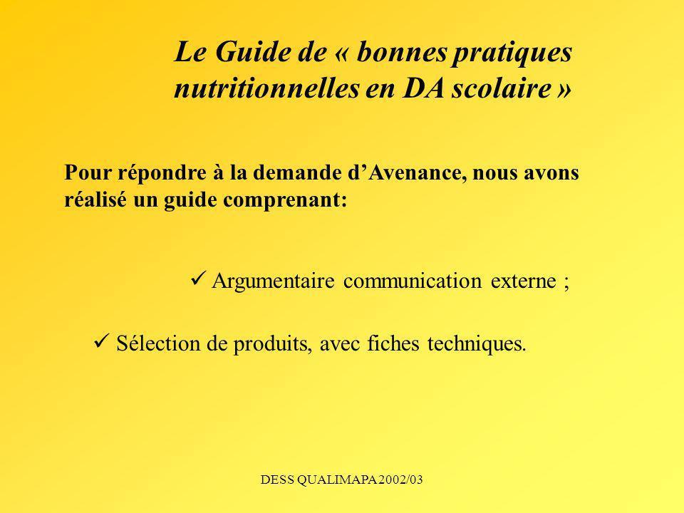 Le Guide de « bonnes pratiques nutritionnelles en DA scolaire »