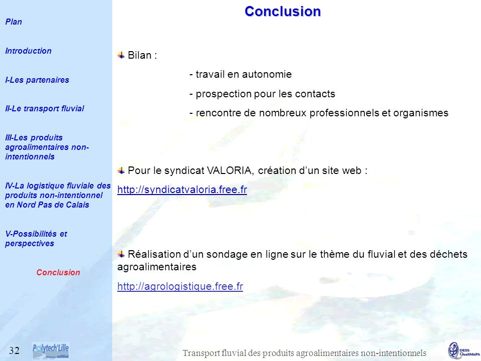 Conclusion Bilan : travail en autonomie prospection pour les contacts