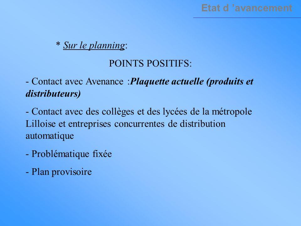 Etat d 'avancement * Sur le planning: POINTS POSITIFS: - Contact avec Avenance :Plaquette actuelle (produits et distributeurs)