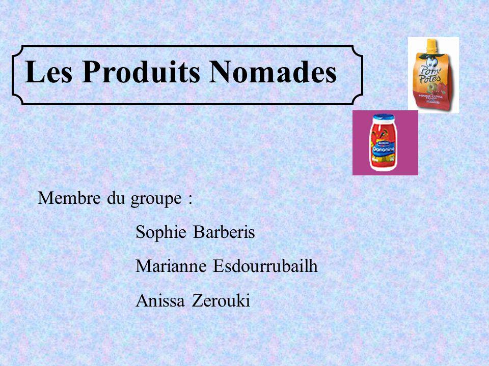 Les Produits Nomades Membre du groupe : Sophie Barberis