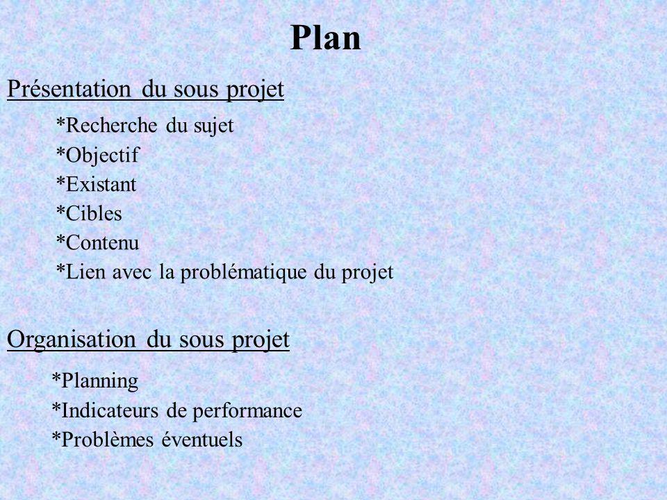 Plan Présentation du sous projet Organisation du sous projet