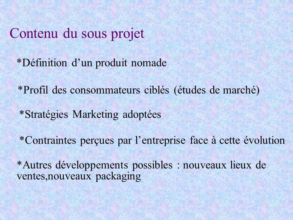 Contenu du sous projet *Définition d'un produit nomade. *Profil des consommateurs ciblés (études de marché)