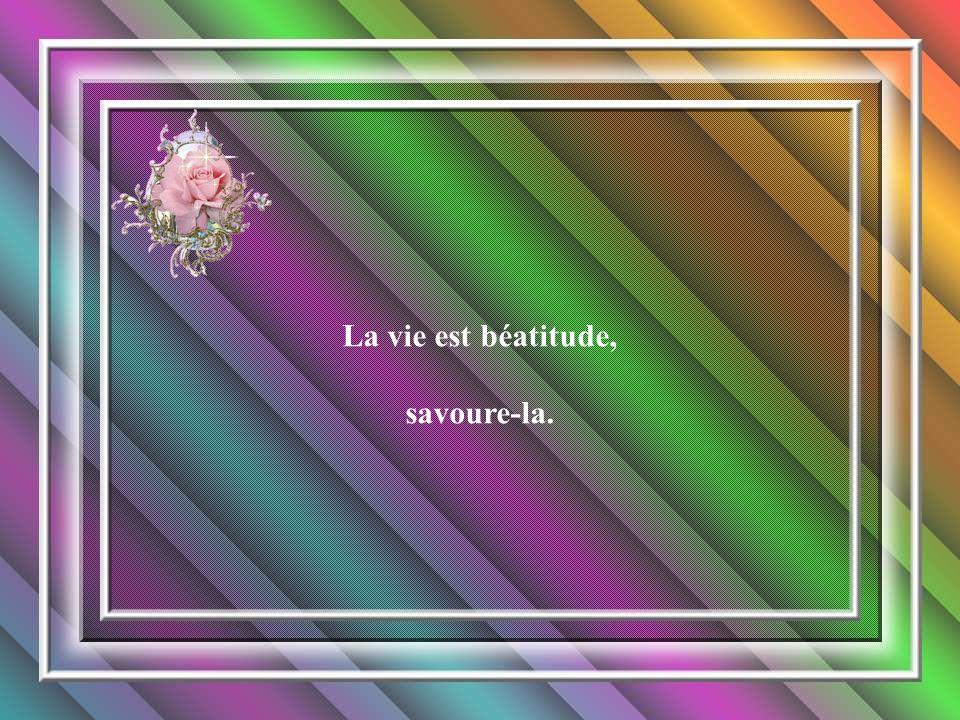 La vie est béatitude, savoure-la.