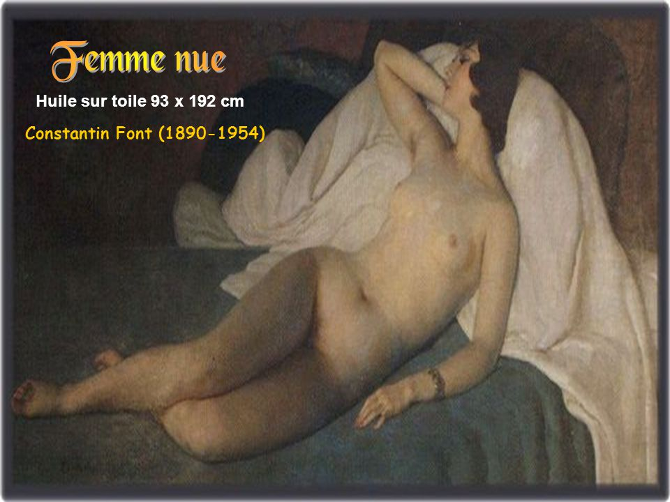 Femme nue Huile sur toile 93 x 192 cm Constantin Font (1890-1954)