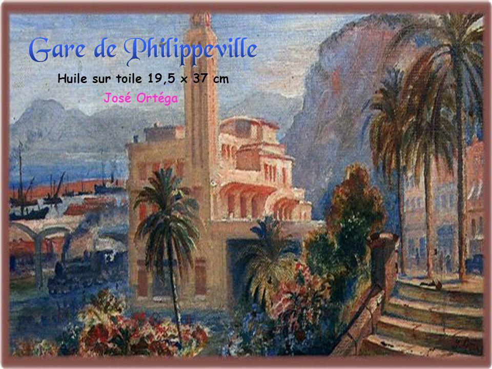 Gare de Philippeville Huile sur toile 19,5 x 37 cm José Ortéga