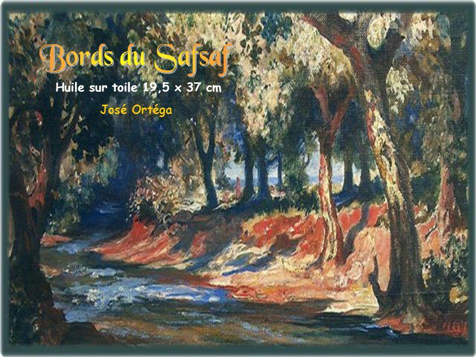 Bords du Safsaf Huile sur toile 19,5 x 37 cm José Ortéga