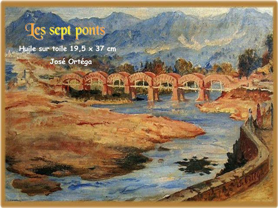 Les sept ponts Huile sur toile 19,5 x 37 cm José Ortéga