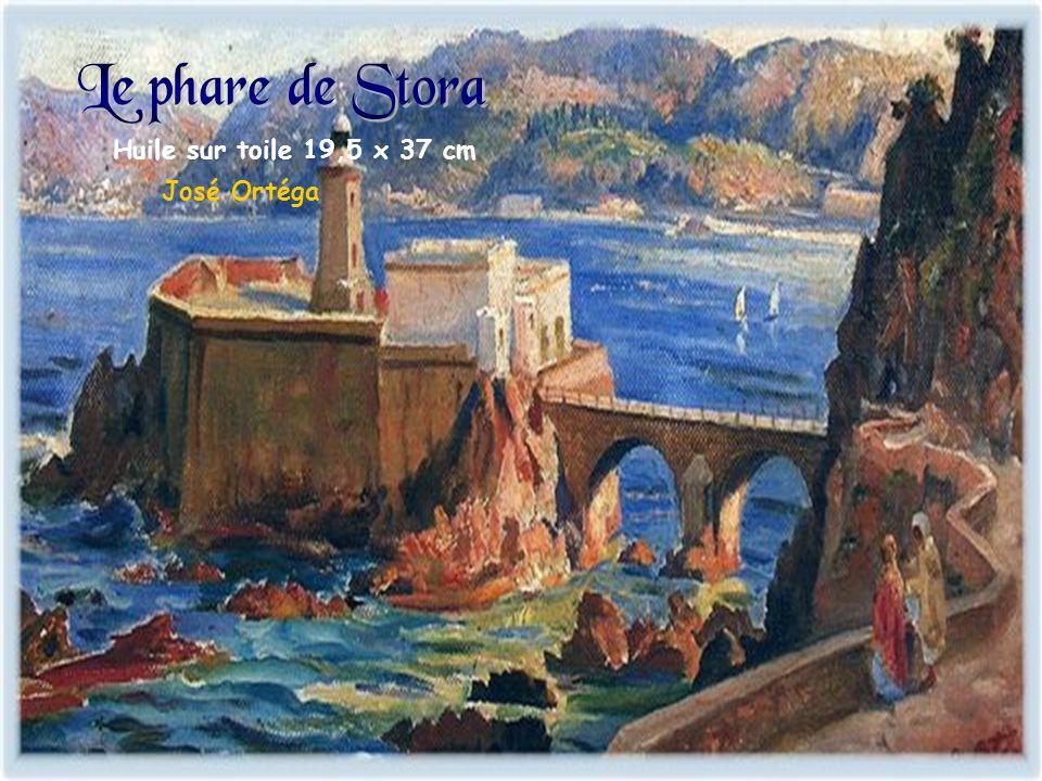 Le phare de Stora Huile sur toile 19,5 x 37 cm José Ortéga