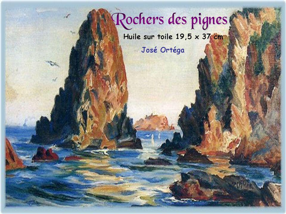 Rochers des pignes Huile sur toile 19,5 x 37 cm José Ortéga