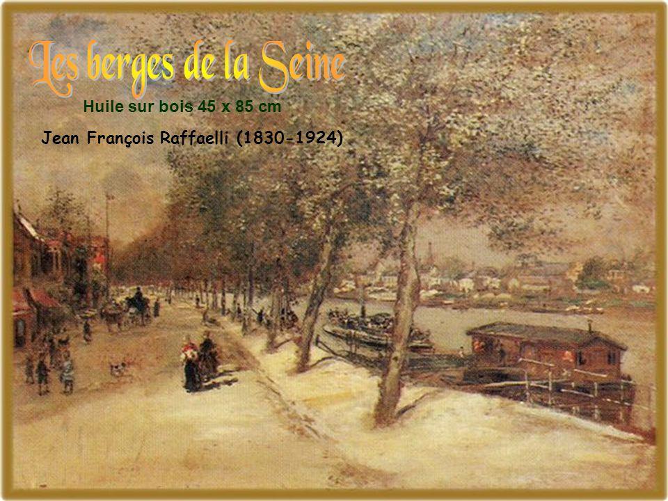 Les berges de la Seine Huile sur bois 45 x 85 cm