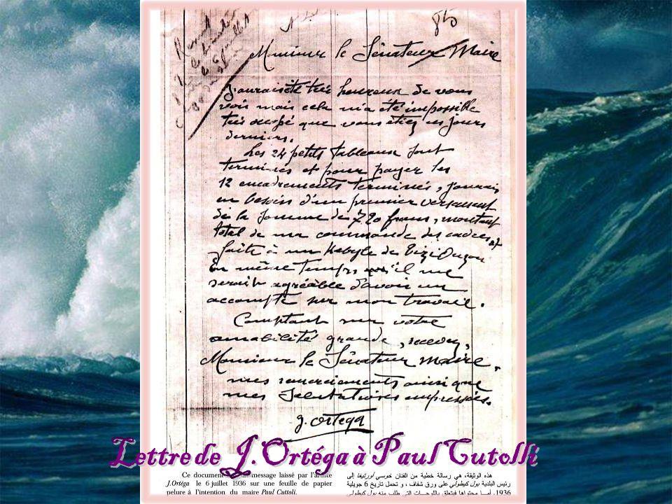 Lettre de J.Ortéga à Paul Cutolli