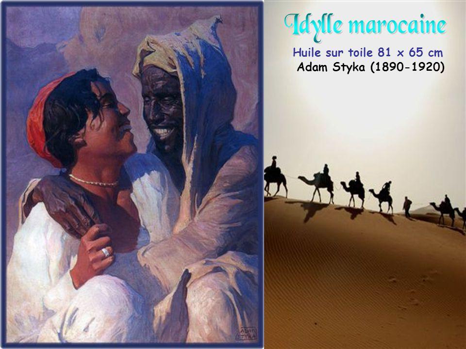 Idylle marocaine Huile sur toile 81 x 65 cm Adam Styka (1890-1920)