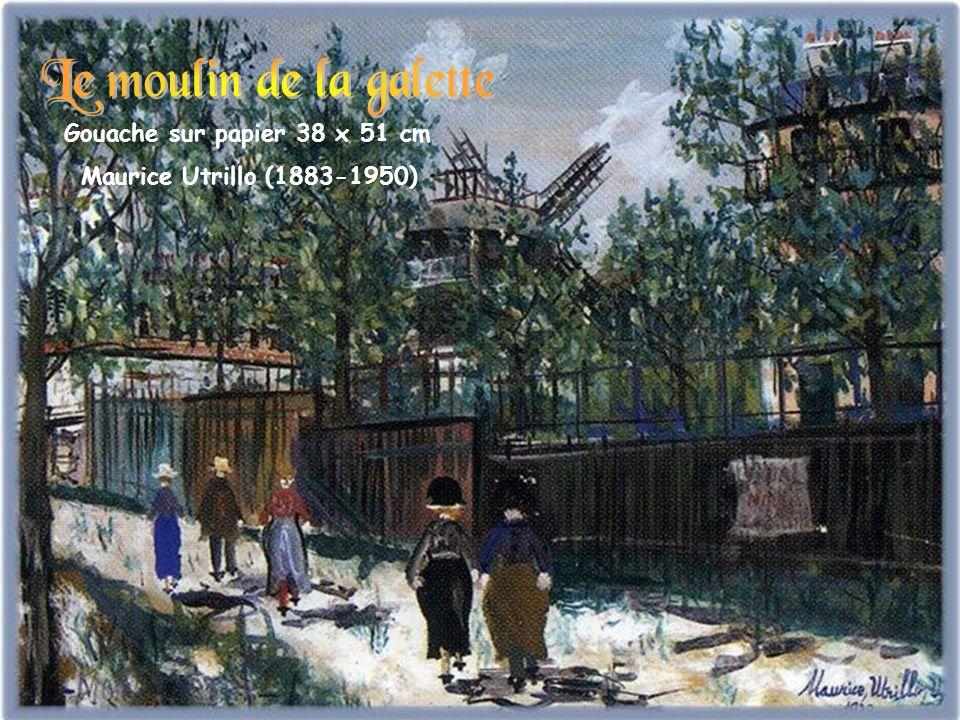 Le moulin de la galette Gouache sur papier 38 x 51 cm