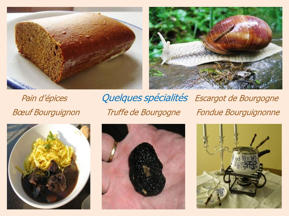 Pain d'épices Quelques spécialités Escargot de Bourgogne