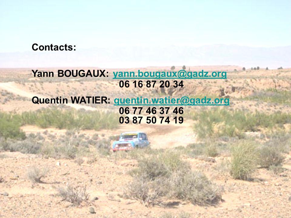 Contacts: Yann BOUGAUX: yann.bougaux@gadz.org. 06 16 87 20 34. Quentin WATIER: quentin.watier@gadz.org.
