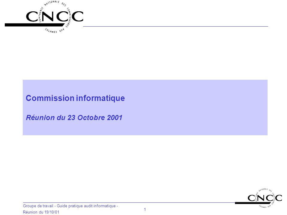 Commission informatique Réunion du 23 Octobre 2001