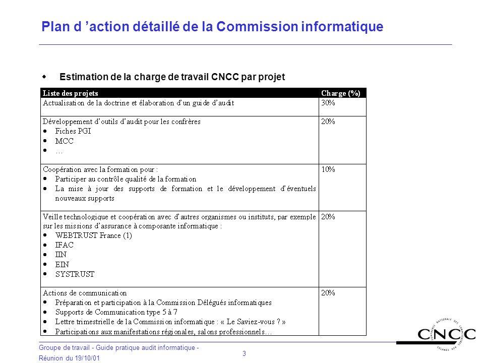 Plan d 'action détaillé de la Commission informatique