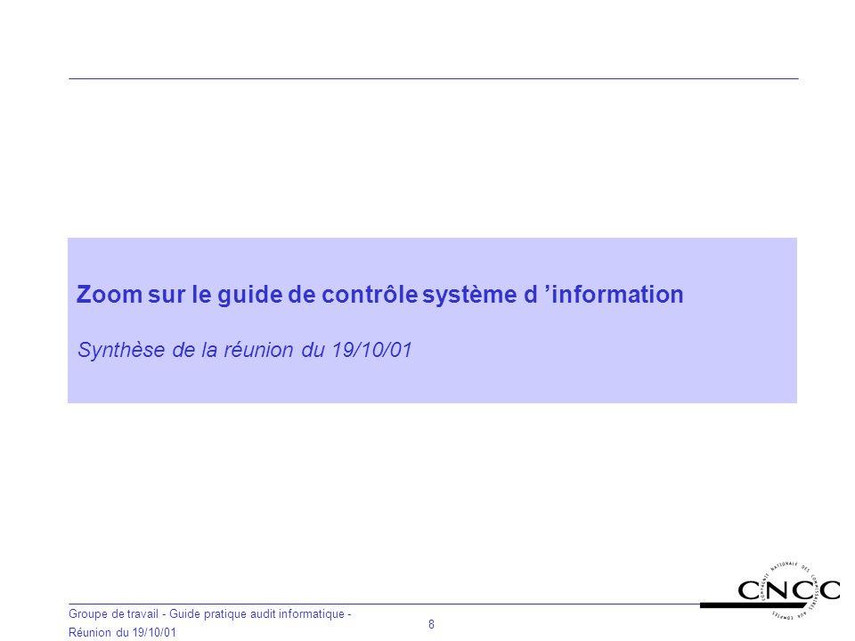 Zoom sur le guide de contrôle système d 'information Synthèse de la réunion du 19/10/01
