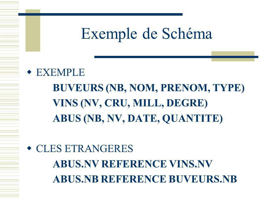 Exemple de Schéma EXEMPLE BUVEURS (NB, NOM, PRENOM, TYPE)