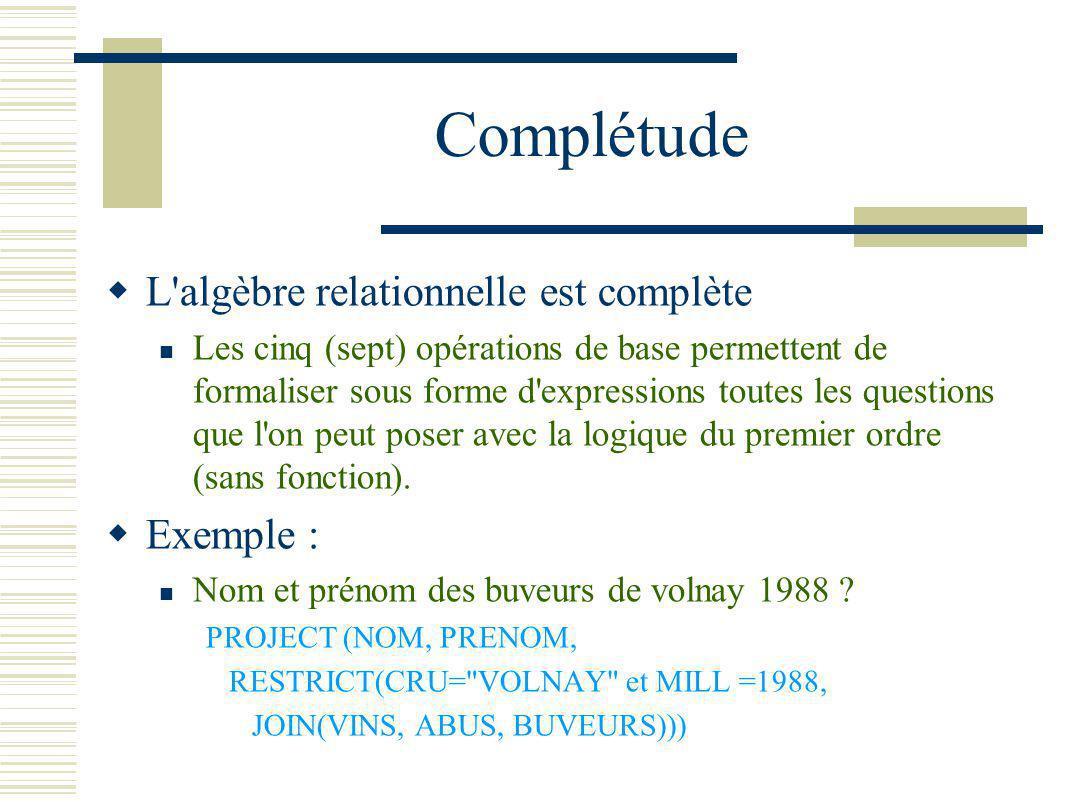 Complétude L algèbre relationnelle est complète Exemple :