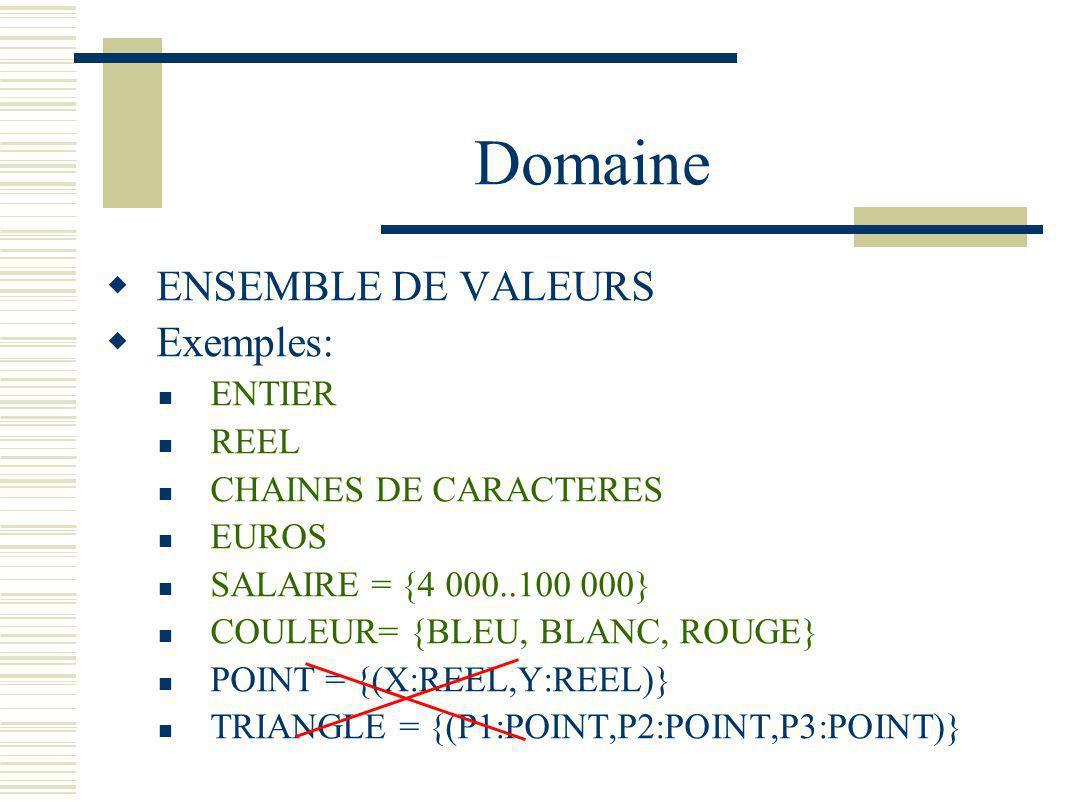Domaine ENSEMBLE DE VALEURS Exemples: ENTIER REEL