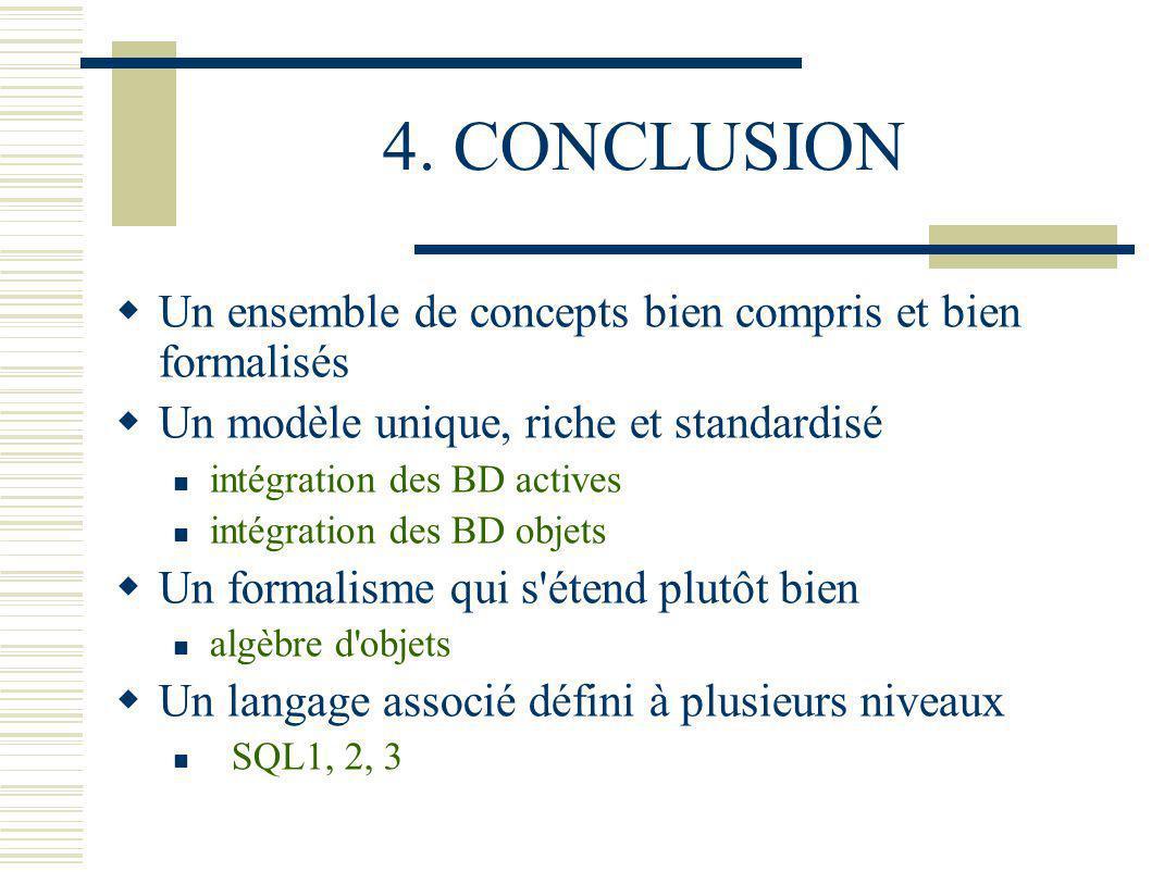 4. CONCLUSION Un ensemble de concepts bien compris et bien formalisés