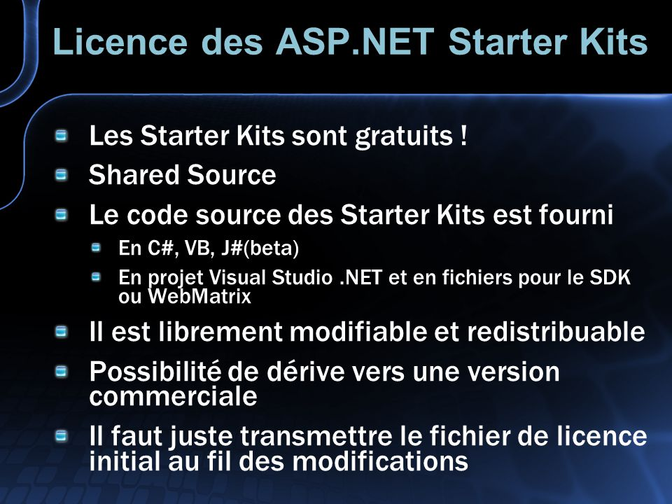 Licence des ASP.NET Starter Kits