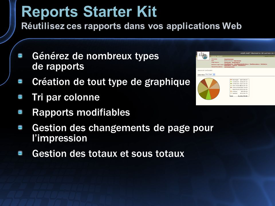 Reports Starter Kit Réutilisez ces rapports dans vos applications Web