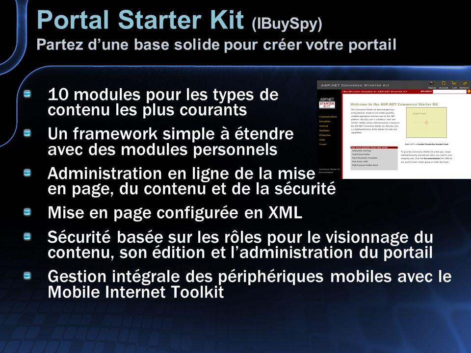 Portal Starter Kit (IBuySpy) Partez d'une base solide pour créer votre portail