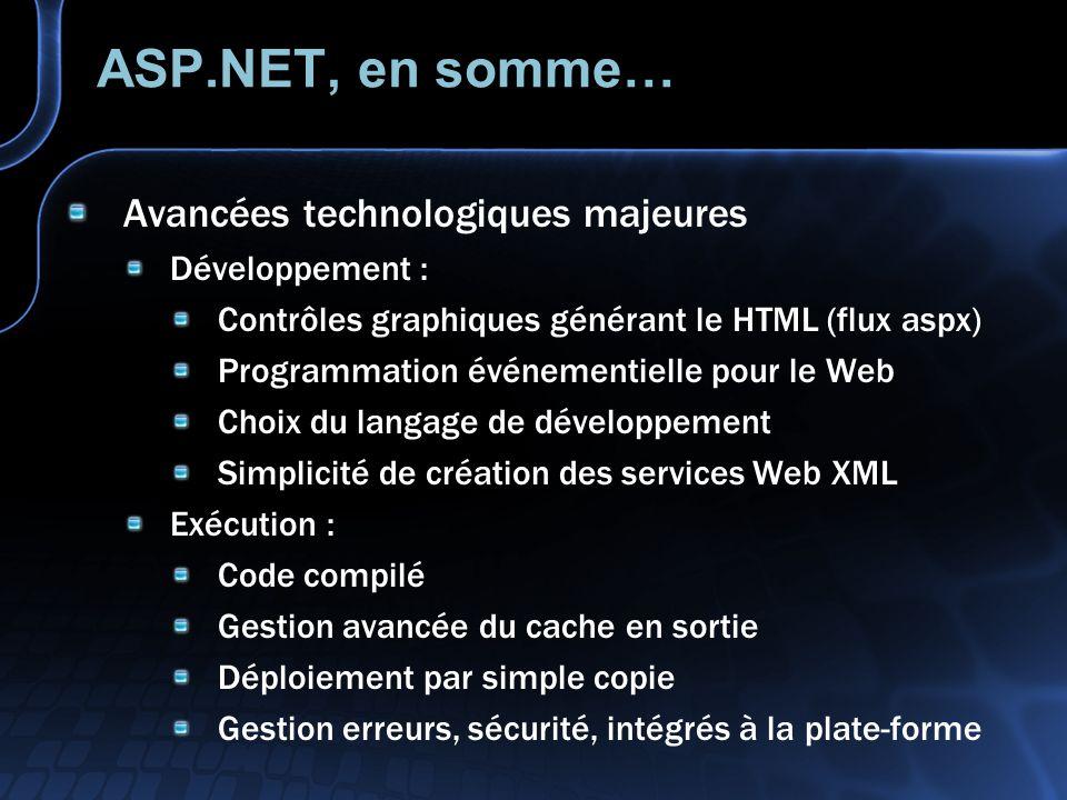 ASP.NET, en somme… Avancées technologiques majeures Développement :