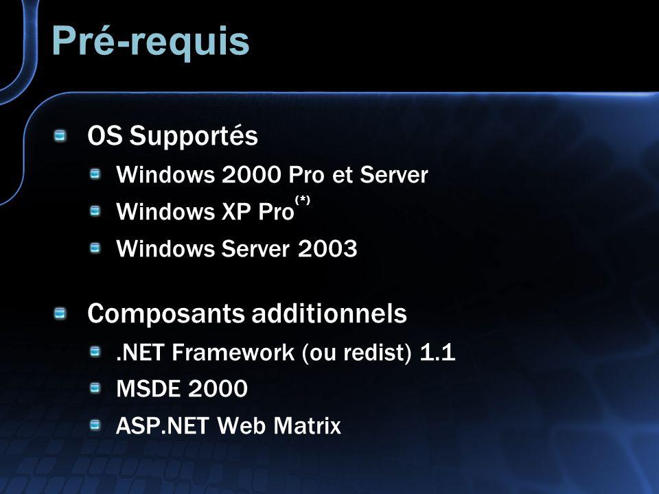 Pré-requis OS Supportés Composants additionnels