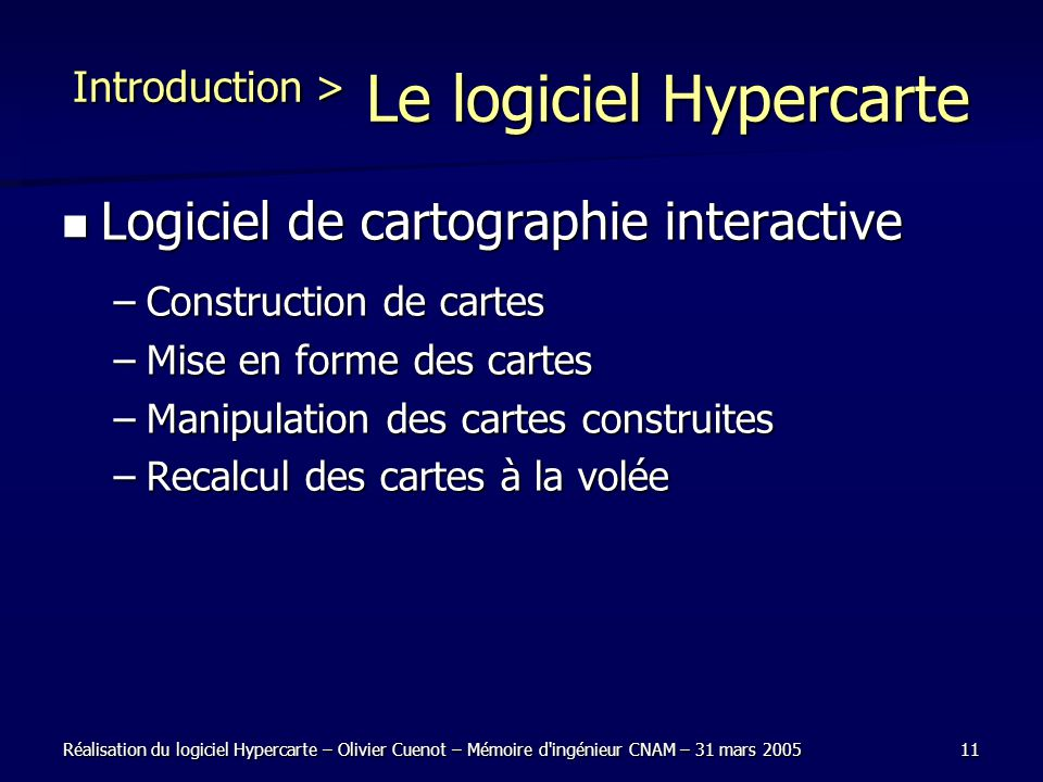 Introduction > Le logiciel Hypercarte