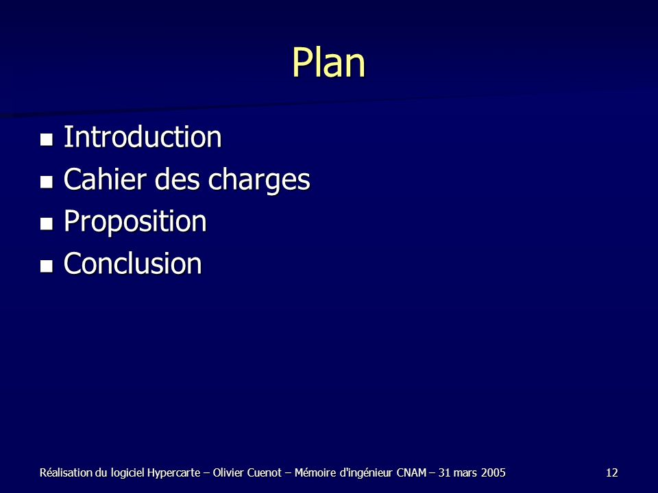 Plan Introduction Cahier des charges Proposition Conclusion