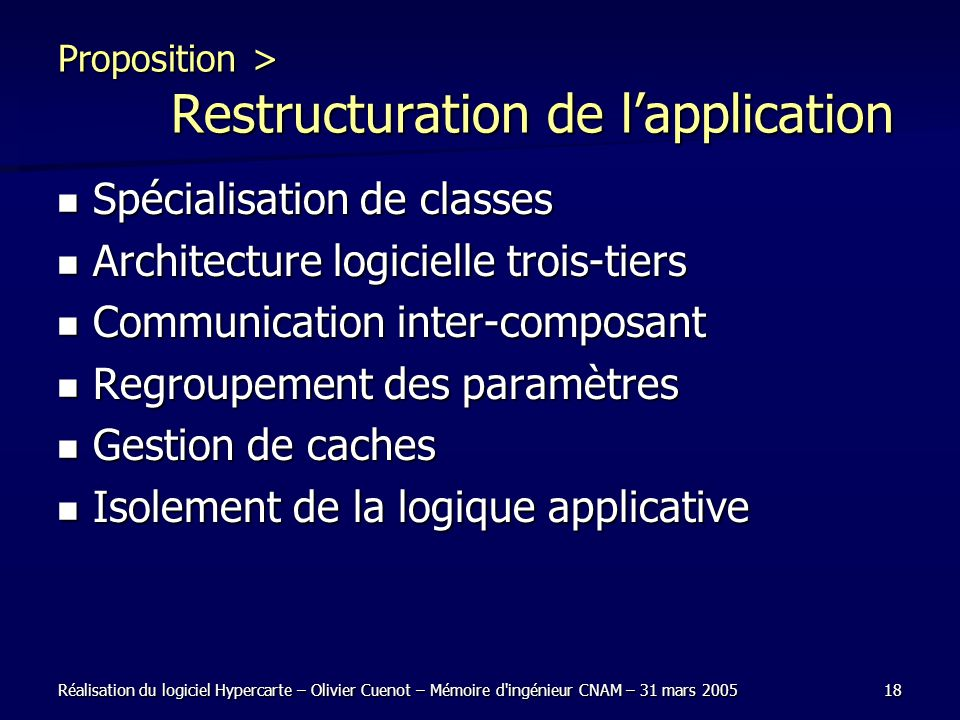 Proposition > Restructuration de l'application