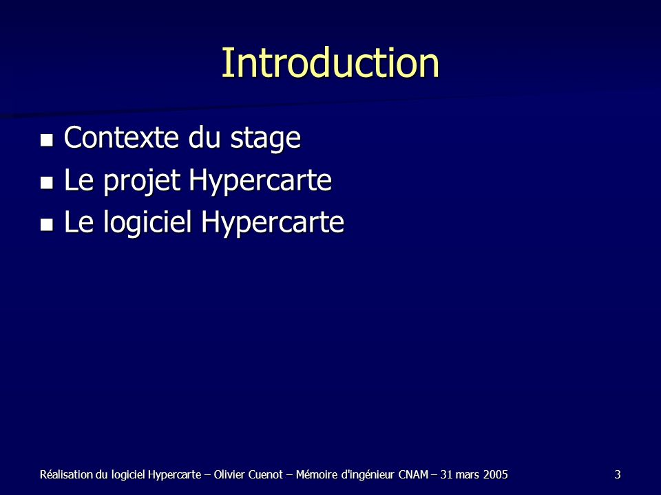 Introduction Contexte du stage Le projet Hypercarte