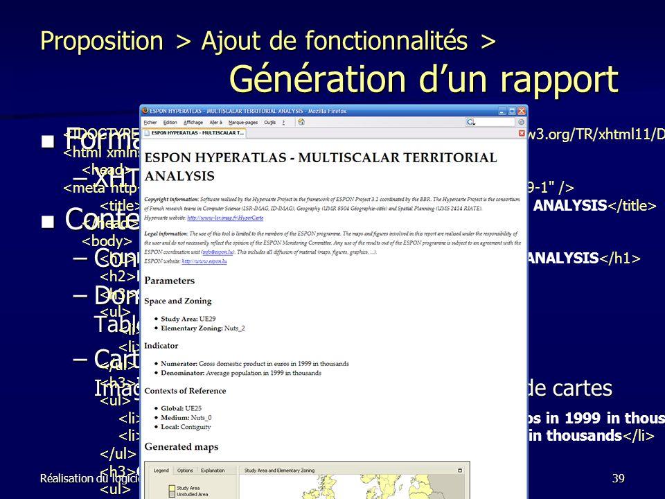 Proposition > Ajout de fonctionnalités > Génération d'un rapport