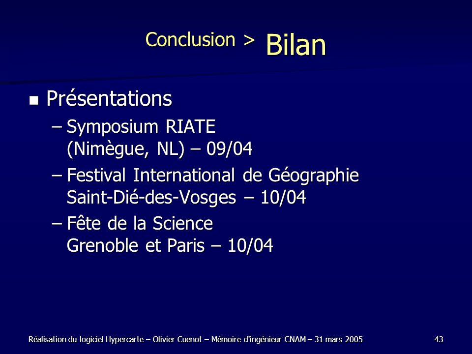 Conclusion > Bilan Présentations
