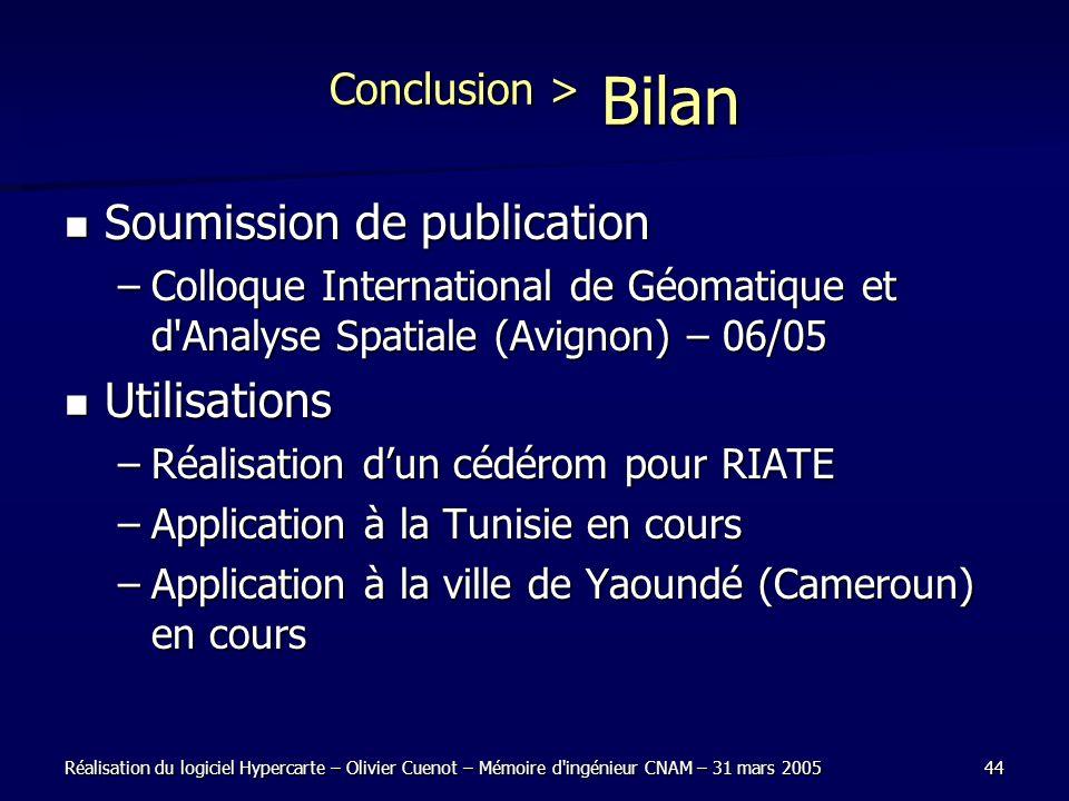 Conclusion > Bilan Soumission de publication Utilisations